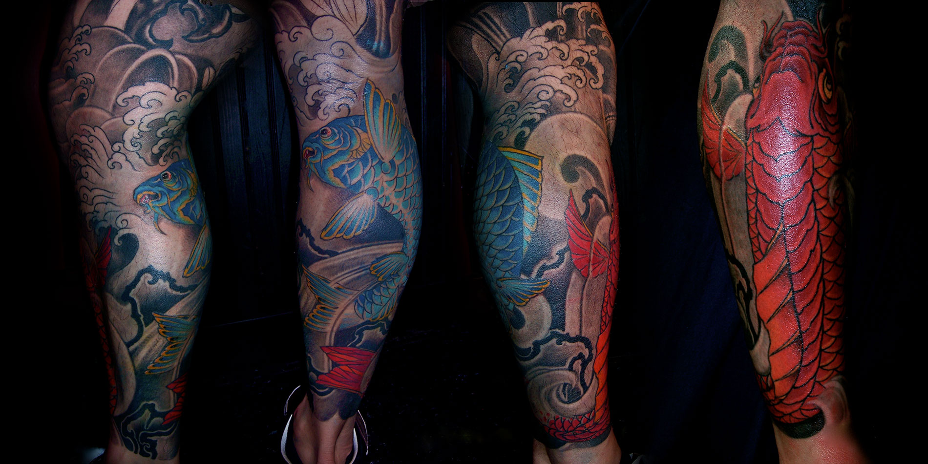 full leg japanese koi tattoo design done in chaing mai