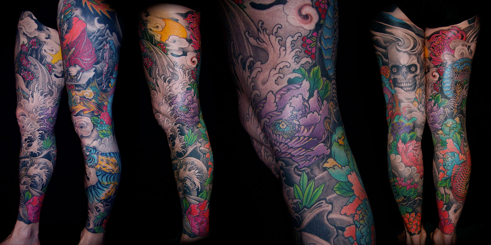 full leg tattoo design done in chaing mai thailand