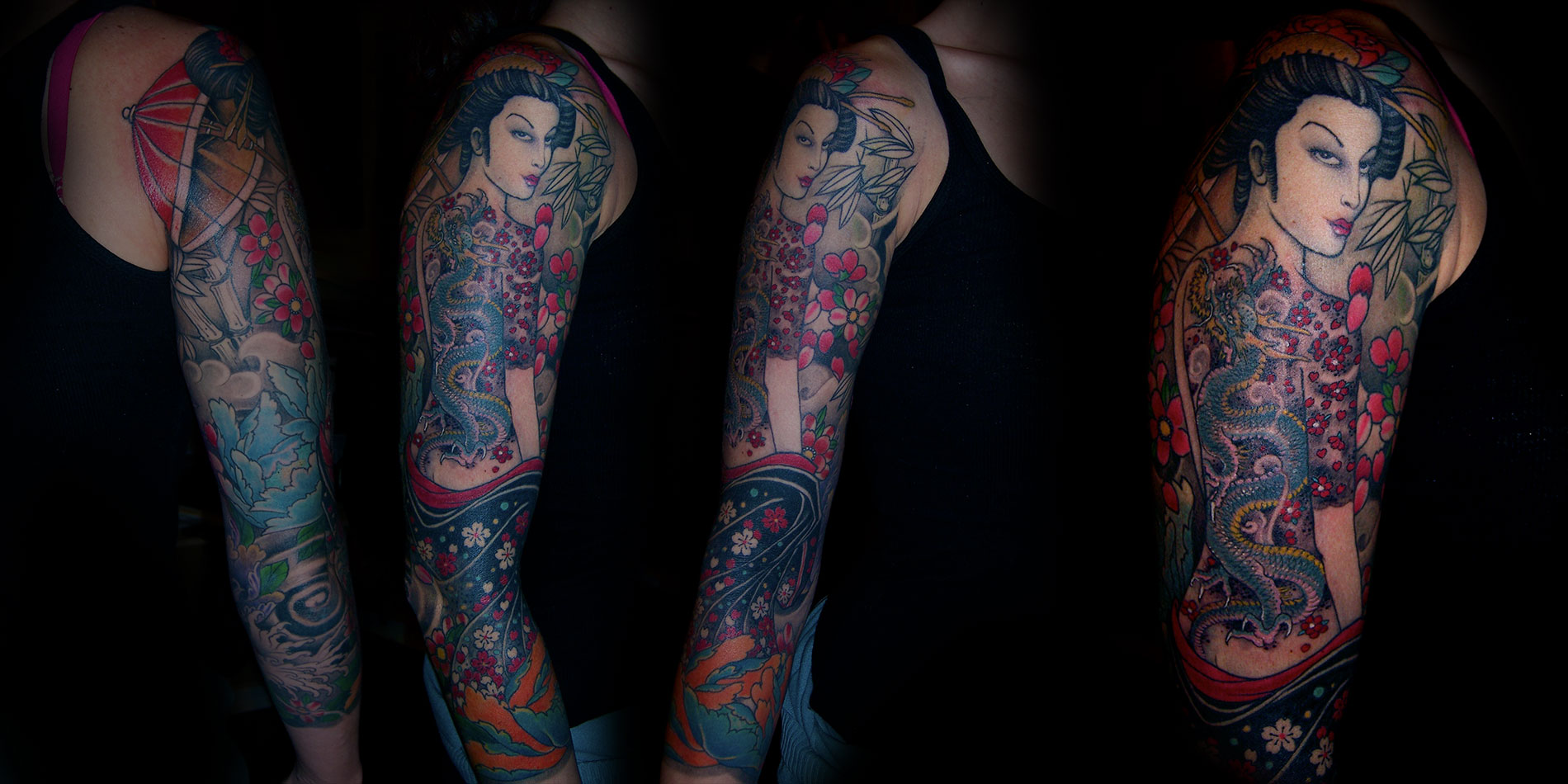 japanese portrait style sleeve tattoo done in chaing mai thailand