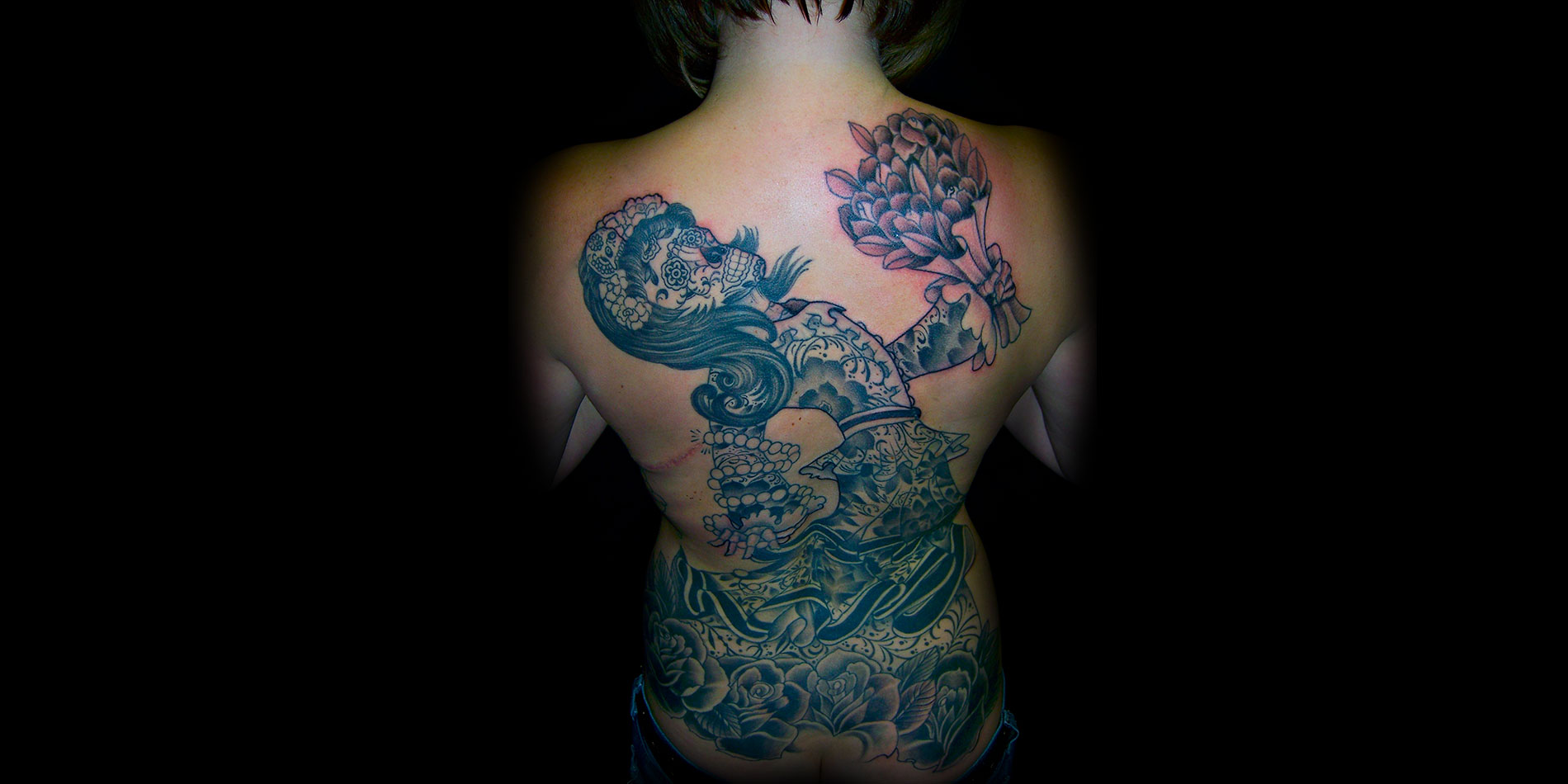 day of the dead full back tattoo