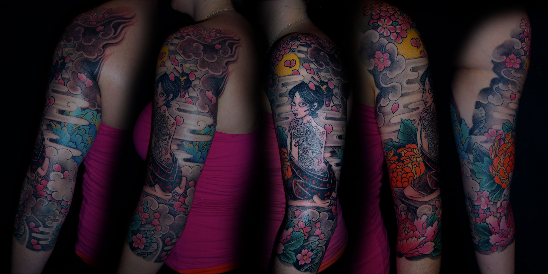 female sleeve tattoo done in chaing mai thailand