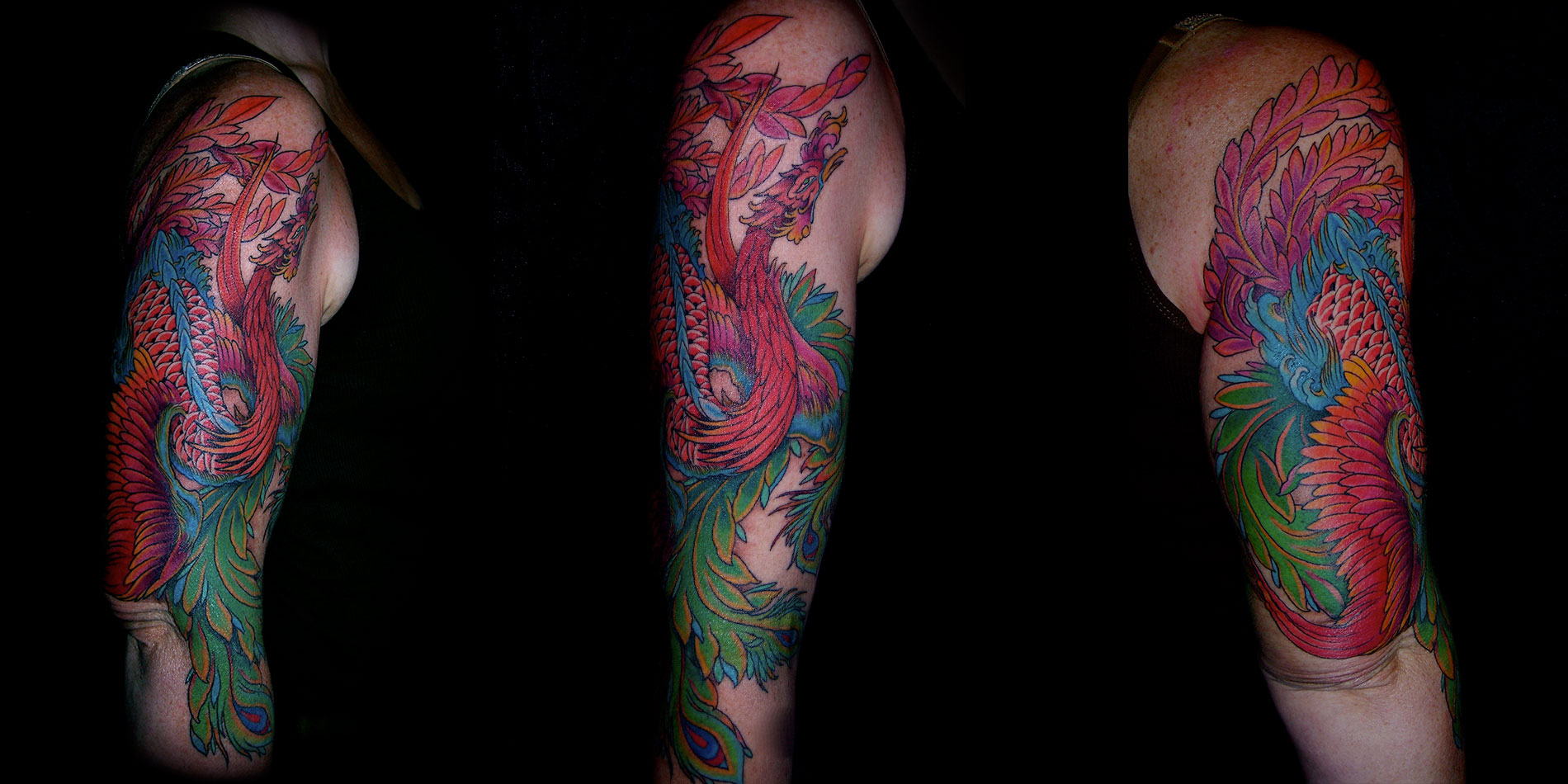 Phoenix full sleeve tattoo done in chiang mai thailand